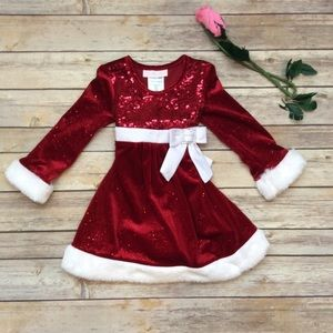 Bonnie baby red Santa holiday dress 18 months
